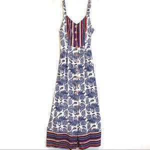 Angie Paisley Blue White Boho Rayon Maxi Dress